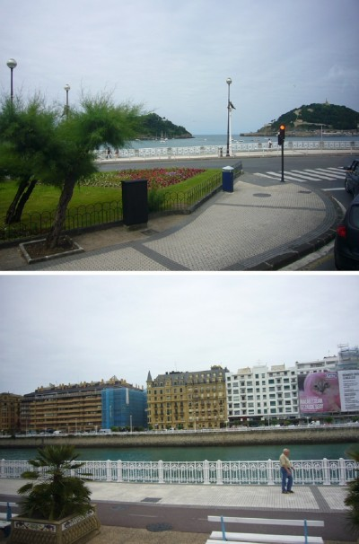 Scenery of San Sebastián; Going to the old town on foot.