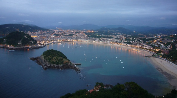 Night view of Donostia, Spain