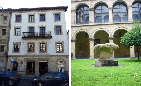 "The Basque Museum and the stone sculpture ""El Mikeldi"" in the courtyard."