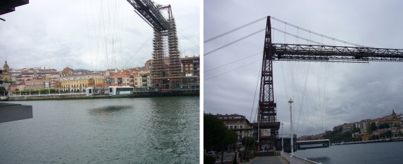 The gondola is coming from the opposite bank and comes alongside.