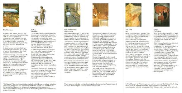 Brochure of Altamira Cave Museum