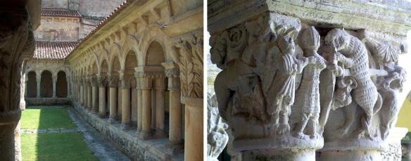 Cloister and column capital of the church, Catedral Santillana del Mar.