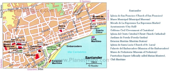 Tourist map of Santander, the map from Planet Ware.