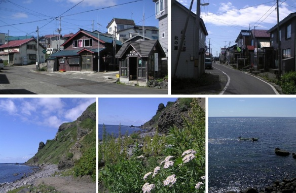 Bus stop, deserted street, southernmost headland and small boat of sea urchin fishing of Shiretoko.