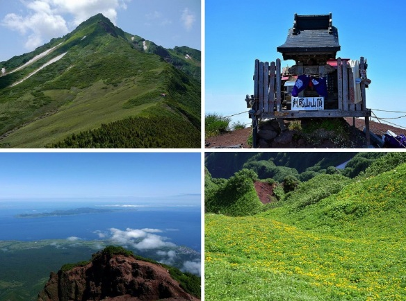 Top of Mt. Rishiri, a shrine on the top and views from the top (Photos from climbing buddies)
