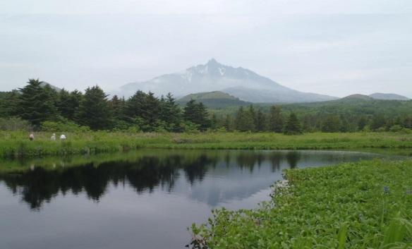Mt.Rishiri and a small pond of Mina-miura Marshland