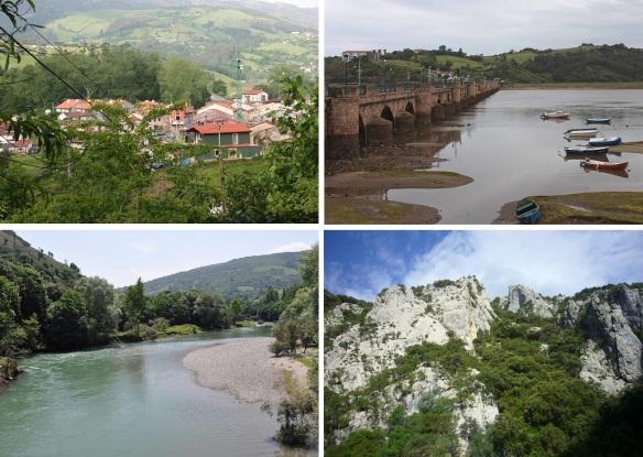 Scenery of Molleda en Val de San Vicente, Rio Deva and the rock cliff near Potes.