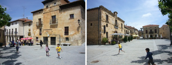 Plaza Mayor of Santo Domingo de Silos. There, some children were running around lively.