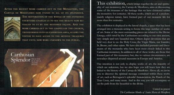 Brochure of Cartuja de Miraflores monastery