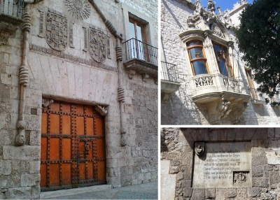 Front door, traditional window and description plate of Casa del Cordón.