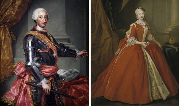 Carlos III and his Queen María Amalia de Sajonia.