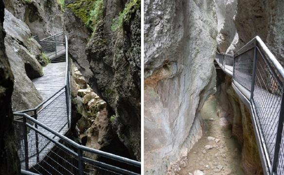Footbridge on steep rock wall of the Yecla Gorge