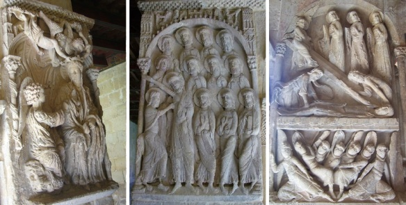 Reliefs on the cloister; The Annunciation to Mary, Doubt of St. Thomas and the Sepulcher.