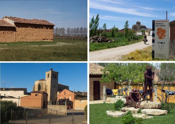 Going into the small village of Boadilla del CaminoI; The outskirts of the  village, pilgrimage path, Iglesia de Santa Maria and pilgrims monument of Boadilla del CaminoI.
