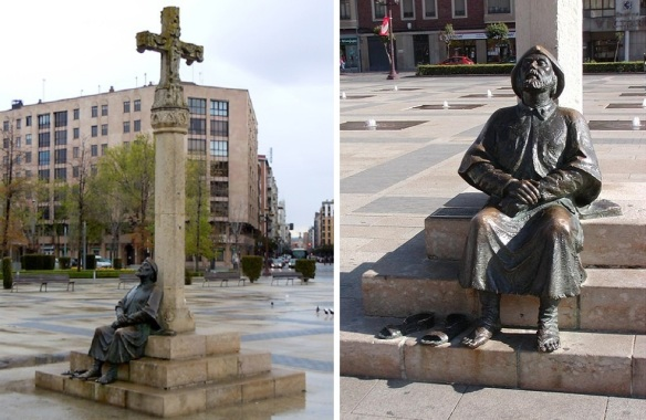 The bronze statue of The Cross and Tired Pilgrim on the San Marcos Plaza Camino-de-Santiago.