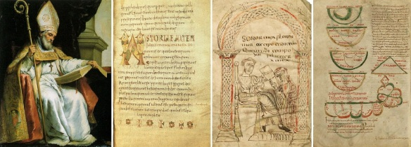 Archbishop St. Isidore of Seville and his works; a page of Etymologiae, Isidore presenting his work to his sister Florentina. Folio 26v of an illuminated codex Toledo of the Etymologies.