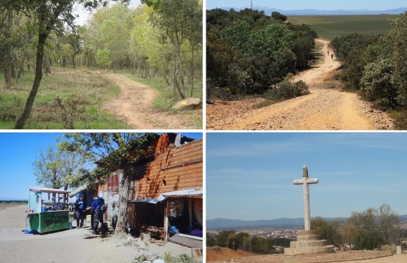 "Through a woods, over a hill, rest at a bar and arrived at ""Cruceiro de Santo Toribio"" (The Cross of Saint Toribio) at last."
