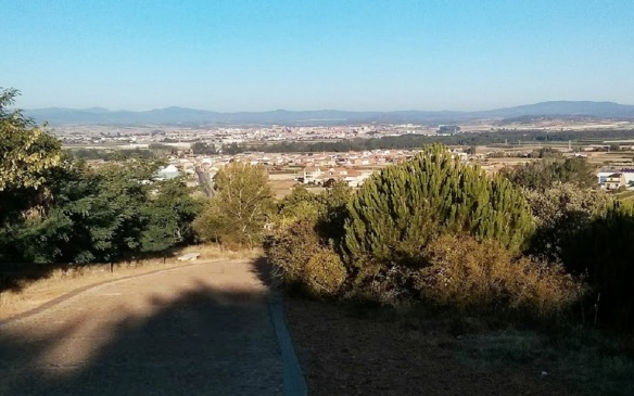 View from the Cross of Saint Toribio, Astorga and the town of San Justo de la Vega is visible.