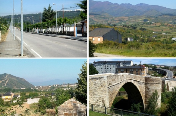 Left Molinaseca for Ponferrada, Idyll, Distant View of Ponferrada,  La Charola Hostal Ponferrada, Going over Puente Mascaron into Ponferrada Town