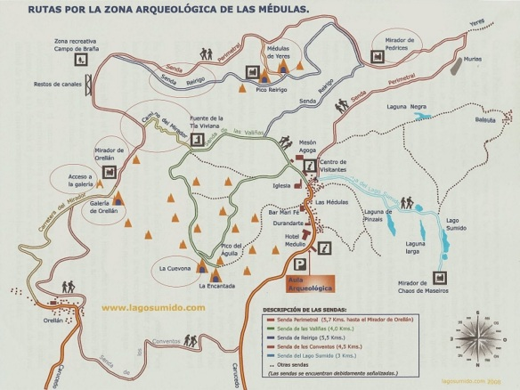 Route map for the archaeological site of Las Medulas