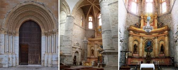 Façade and interior, alterpiece of the Santa María Collegiate Church Villafranca del Bierzo.