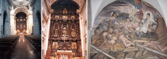 Interior of the San Nicolas church, altarpiece and wall painting.