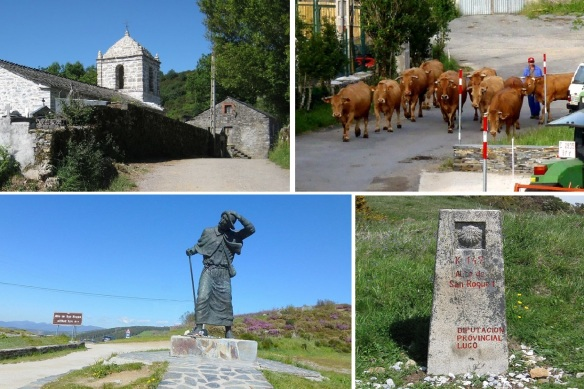 Iglesia of Liñares. Taking a rest at the village, herd of cattle coming. Pilgrims of monuments at Alto de San Roque (Mountain pass). Stele of Alto de San Roque.