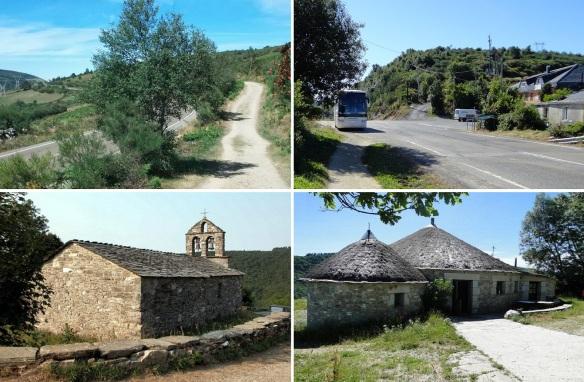 "Photos of very small village of Fonfria; Leaving Hospital Condesa Village. Mountain Pass ""Alto de Poio"" (Altitude 1,335 m).  Parish church of Fonfria. Albergue, traditional dwelling, in Fonfria."