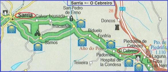 Map, from O Cebreiro to Sarria.