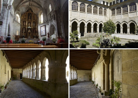 Interior of the  Magdalena monastery; the altar, courtyard and cloister. The monks seem like to display potted flowers.