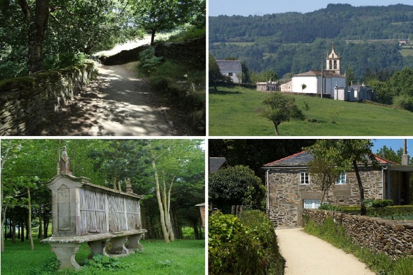 Marcadoiro Village; Mountain path with stone walls, Parish church of Marcadoiro, Hórreo (Traditional barn in the region), Classic house.