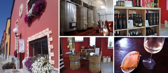 Winery Viñas Del Bierzo S. Coop, Brewing plant, Shop and Bar. A glass of Wine with Tapas (relish).