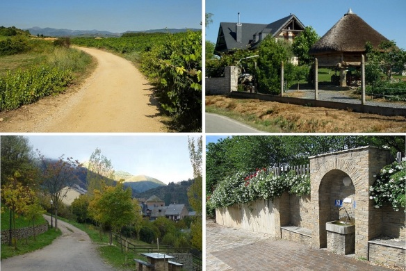 Scenery, from Camponaraya to the village of Cacabelos.  Path through vineyards, Teaditional raised floor storehouse, Pilgrimage mountain path, and Fountain for pilgrims