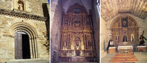 The façade, altarpiece and side-chapel of Iglesia de San Francisco, Villafranca del Bierzo.