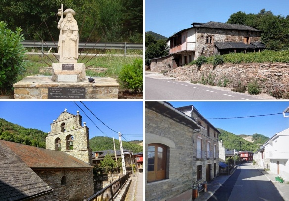 Scenery of Portela de Valcarce; Pilgrim Monument standing at the edge of the village. Old farmhouse. Baroque parish church dedicated to San Juan Bautista dates from the 17th century. Main street of the village.