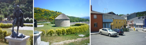 Arrived at O Cebreiro; Pilgrimage of monument. A palloza (pallouza or pallaza), traditional dwelling of northwest Spain.  O Cebreiro town.