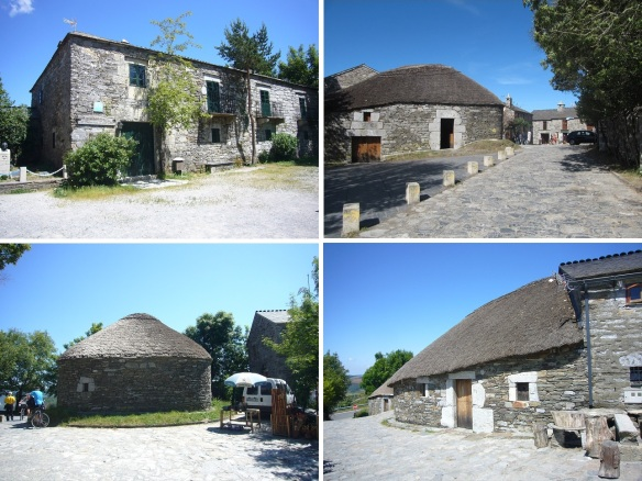 """Former hospital for pilgrims and traditional houses called """"palloza."""""""