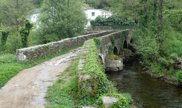 Cross the medieval stone bridge over Rio Pequeno, leaving Sarria for the west.