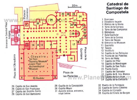 Catedral de Santiago de-Compostela Map, from PlanetWare.com