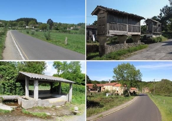 Photos between Ligonde and Palas de Rei; Path to Palas de Rei, traditional barn hórreo, public laundry, pastoral village.