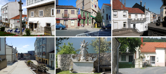 City center, old town, streets and statues of Palas de Rei.