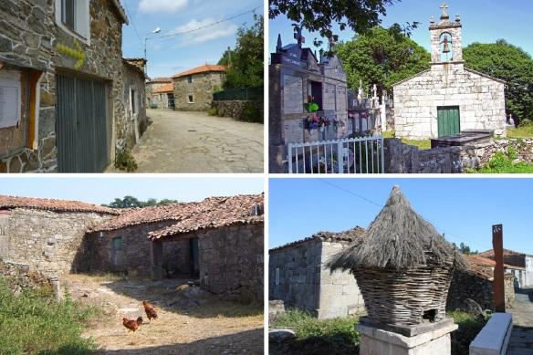 From Palas de Rei to the village of Leboreiro;Leaving Palas de Rei. Iglesia San Sebastián de Carballa. Farmer's house in this area, Another horreo and Celtic Church of Santa Maria Leboreiro.