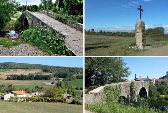 From Leboreiro to Melide; Medieval stone bridge the edge of Laboreiro. Gothic cross on the park of Madanela. The small village of Furelos. Across the Roman Bridge to Melide Town.