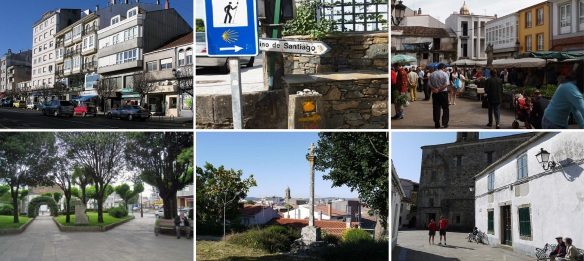Scenery of Melide; City center of Melide. Rord side mile stone of Camino de Santiago. Market Square with crowded shoppers. Central park. Park on old castle ruins.