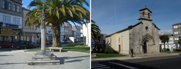 Cruceiro (stone cross monument) and next Chapel San Roque on Rugo Street.