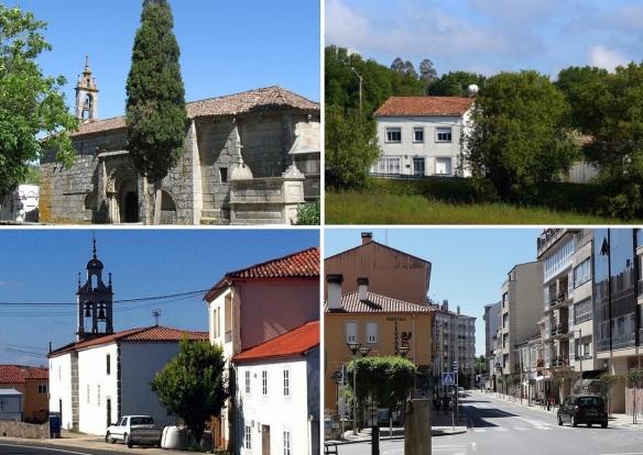 Walking to Arzúa from Melide; Church of Santa Maria de Melide, Raído Village, Parish church of A Peroxa Villag and Arzúa Town Street.