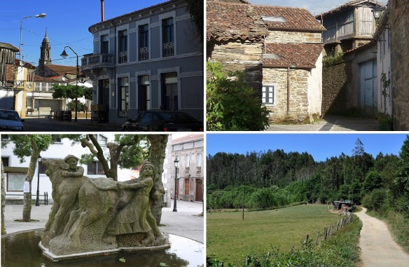 Views of Arzua; José Antonio Street. Narrow alley of pilgrimage. Fountain and statue on the Plaza de Galizia. Leaving Arzúa.