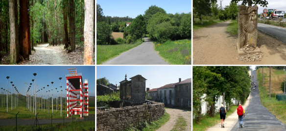 From Santa Irene to Santiago; Left Santa Irene, walking to the west in the forest. Rural Galician municipality, A Rúa. From this monument, going to Santiago. Santiago de Compostela Airport. San Paio Town. Going up this last slope…