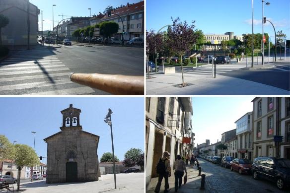Street called Rúa San Lázaro. Intersection of Rúa das Fontiñas, Rúa da Fonte dos Concheiros and N-550. Chapel of San Lázaro (St. Lazarus). Street, Rúa das Casas Reais.