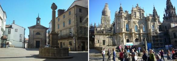 Fountain for pilgrims and Igreja San Breito on the Praza de Cervantes. Arrived at the Cathedral of Santiago de Compostela.